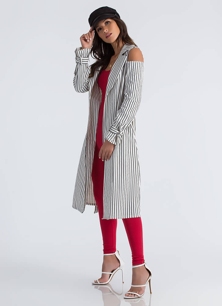 Get In Lines Pinstriped Trench Coat WHITEBLACK