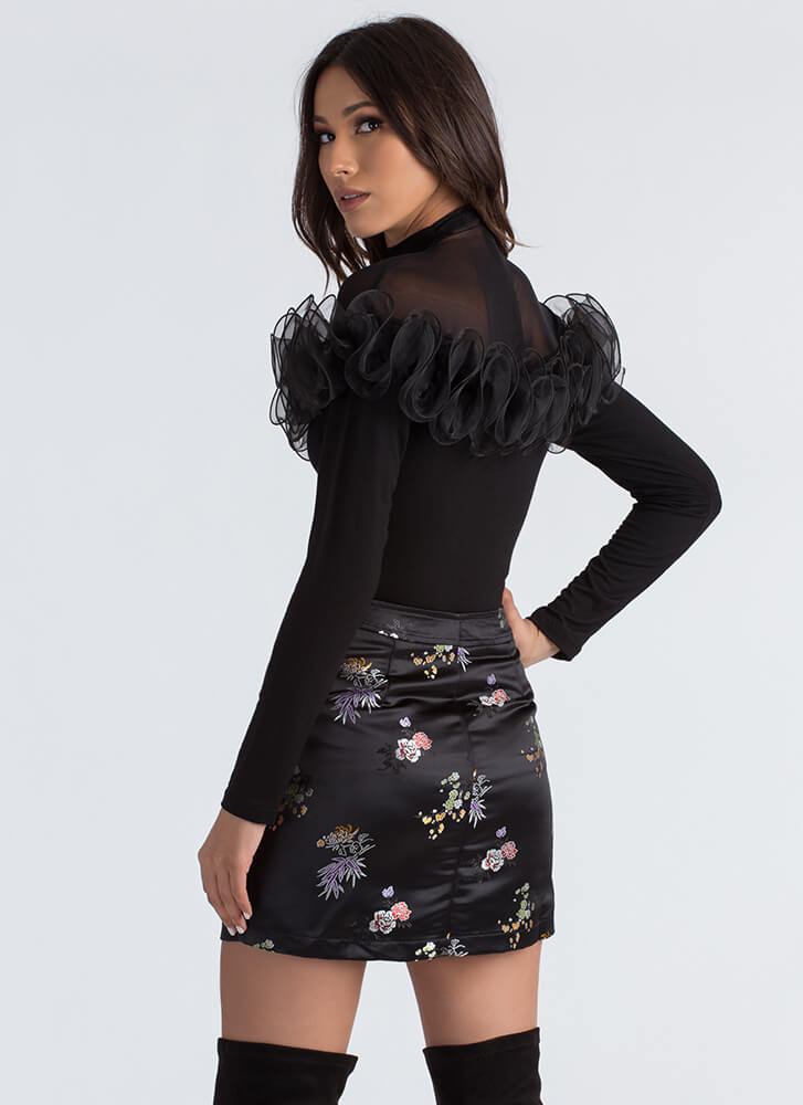 Botanical Beauty Floral Satin Skirt BLACK