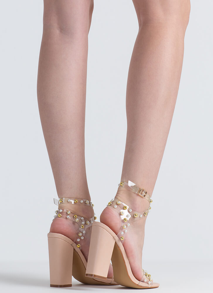 Clearly A Stud Faux Pearl Strappy Heels NUDE