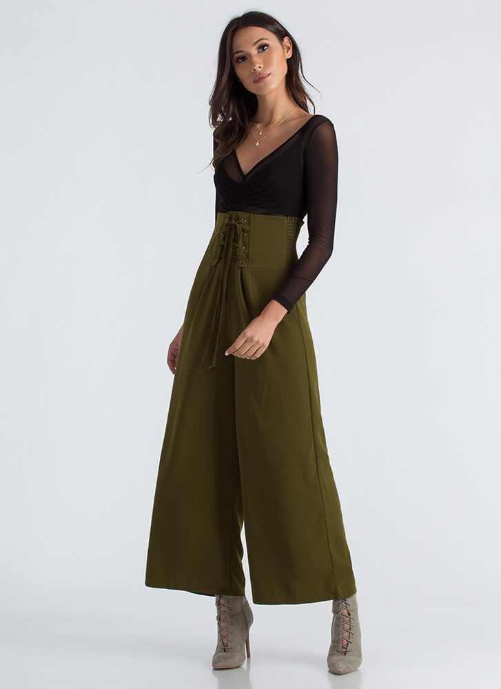 High Society Lace-Up Palazzo Pants OLIVE