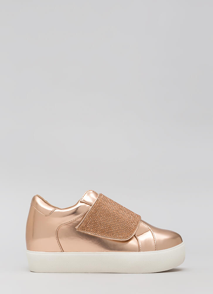 Sparkle Away Jeweled Velcro Sneakers ROSEGOLD