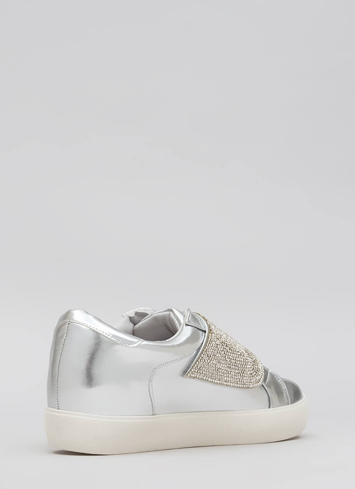 Sparkle Away Jeweled Velcro Sneakers SILVER