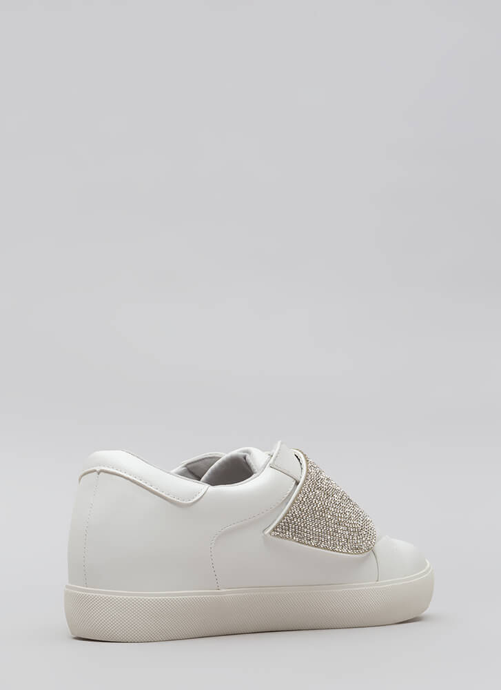 Sparkle Away Jeweled Velcro Sneakers WHITE