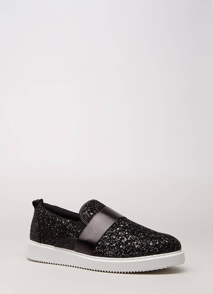 Maximum Sparkle Glittery Sneakers BLACK (You Saved $20)