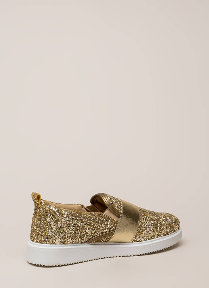 Maximum Sparkle Glittery Sneakers GOLD (You Saved $20)