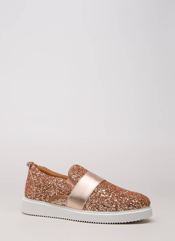 Maximum Sparkle Glittery Sneakers ROSEGOLD