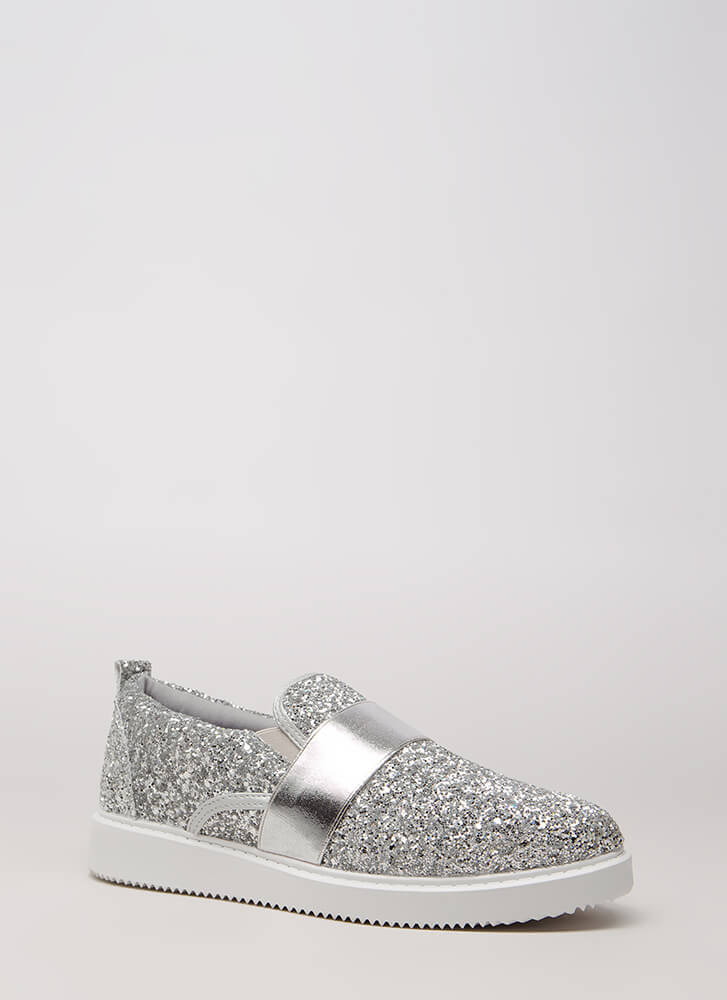 Maximum Sparkle Glittery Sneakers SILVER (You Saved $20)
