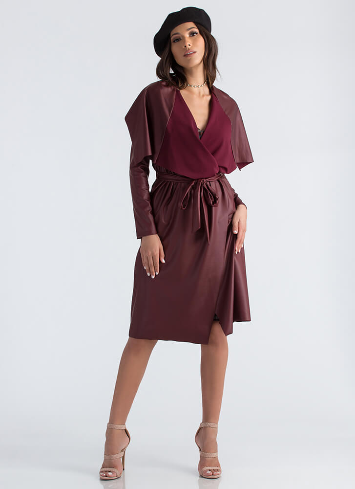 Slick Weather Faux Leather Trench Coat BURGUNDY
