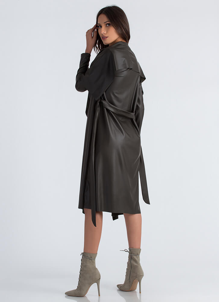 Slick Weather Faux Leather Trench Coat OLIVE