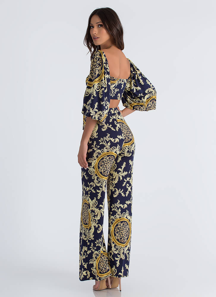 Baroque Boss Crop Top And Pant Set NAVY (Final Sale)