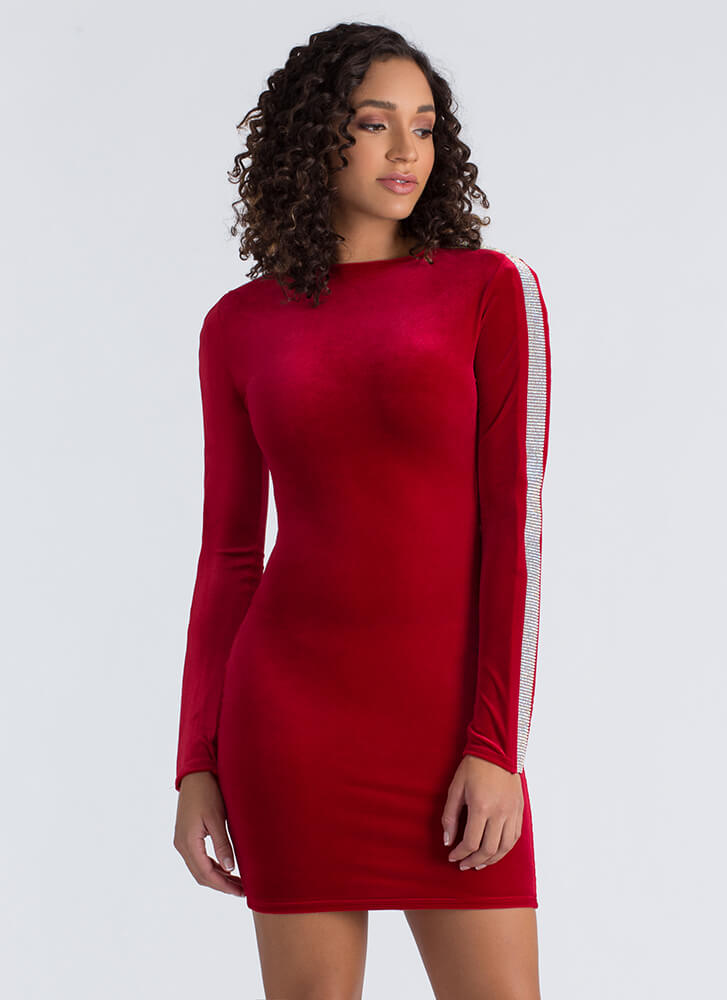 Up In Arms Jeweled Sleeve Velvet Dress RED