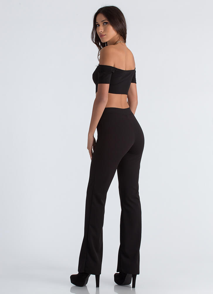 Easy Math Crop Top And Pant Set BLACK