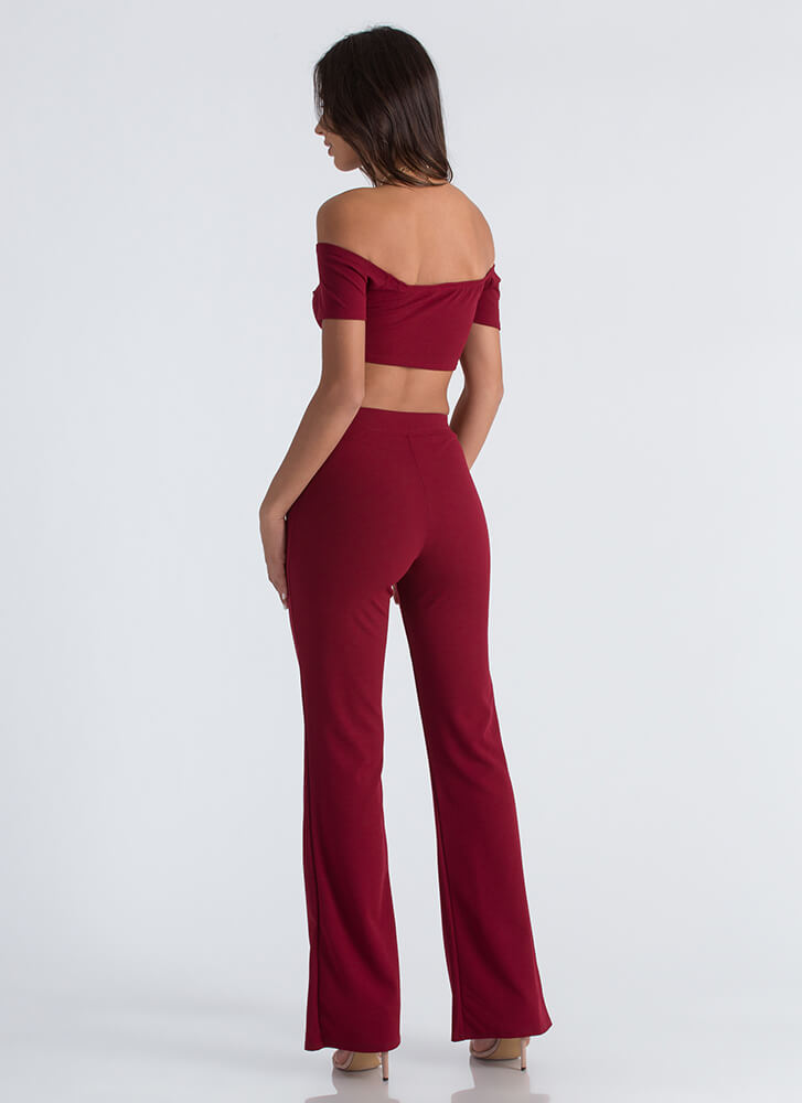 Easy Math Crop Top And Pant Set WINE