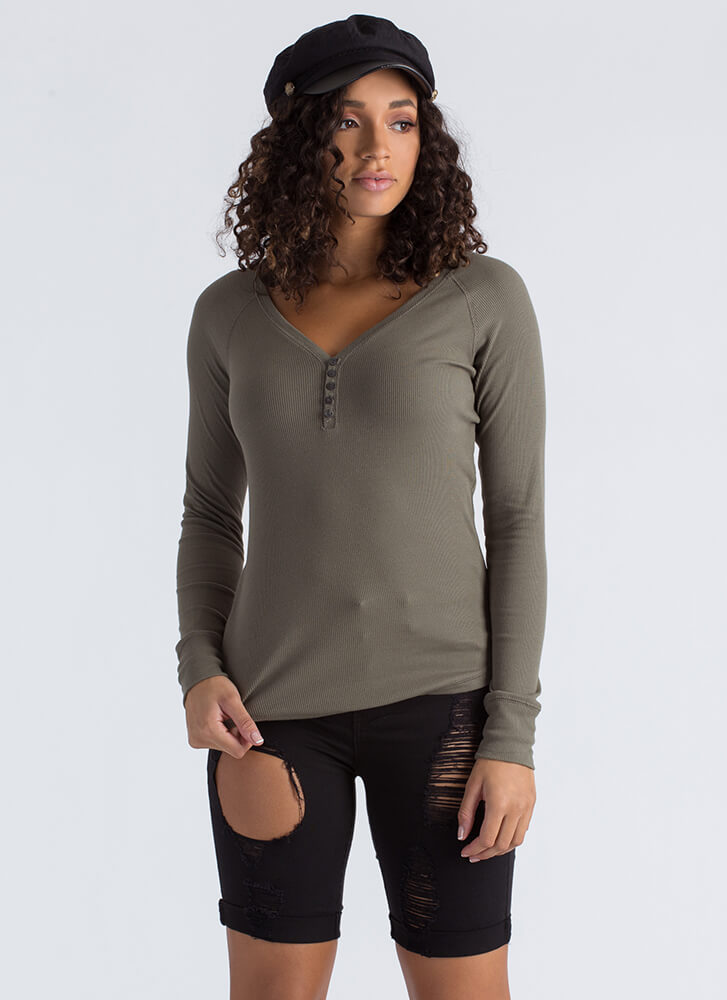 Cute As A Button Rib Knit Henley Top OLIVE