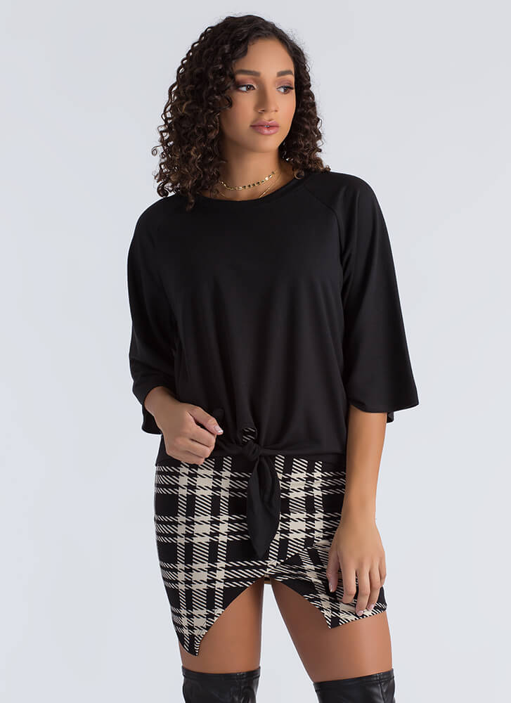 Knot To Worry Tied Flared Sleeve Top BLACK