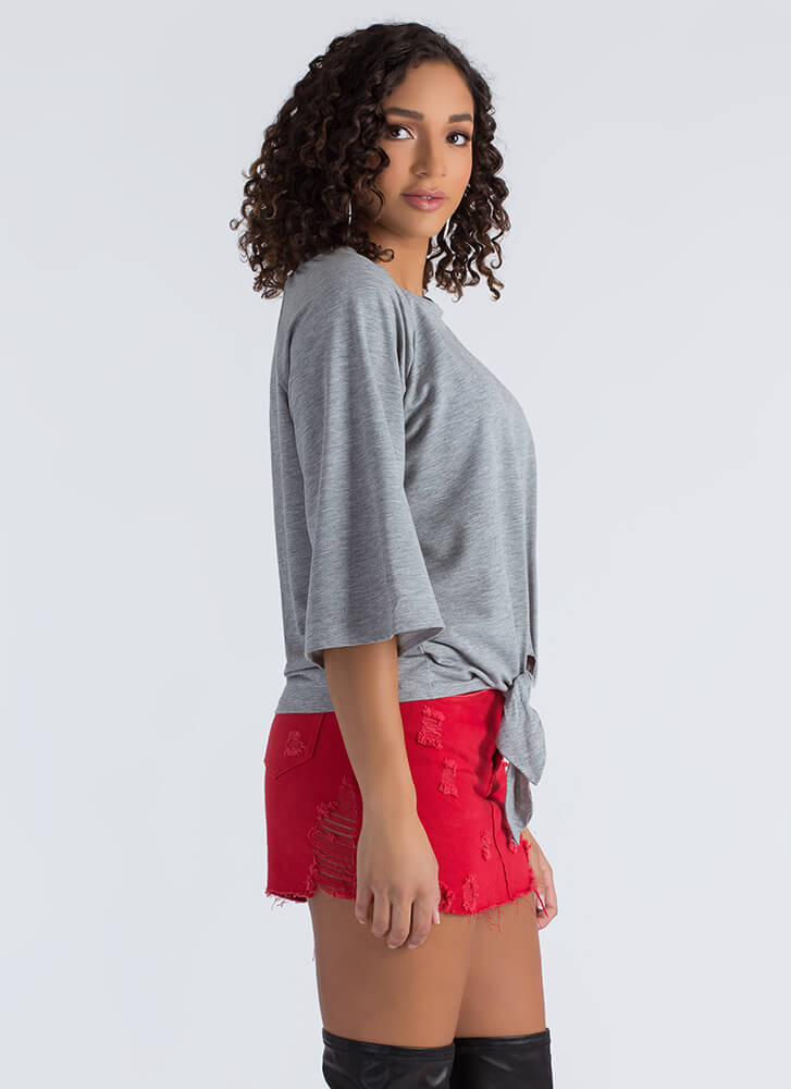 Knot To Worry Tied Flared Sleeve Top HGREY
