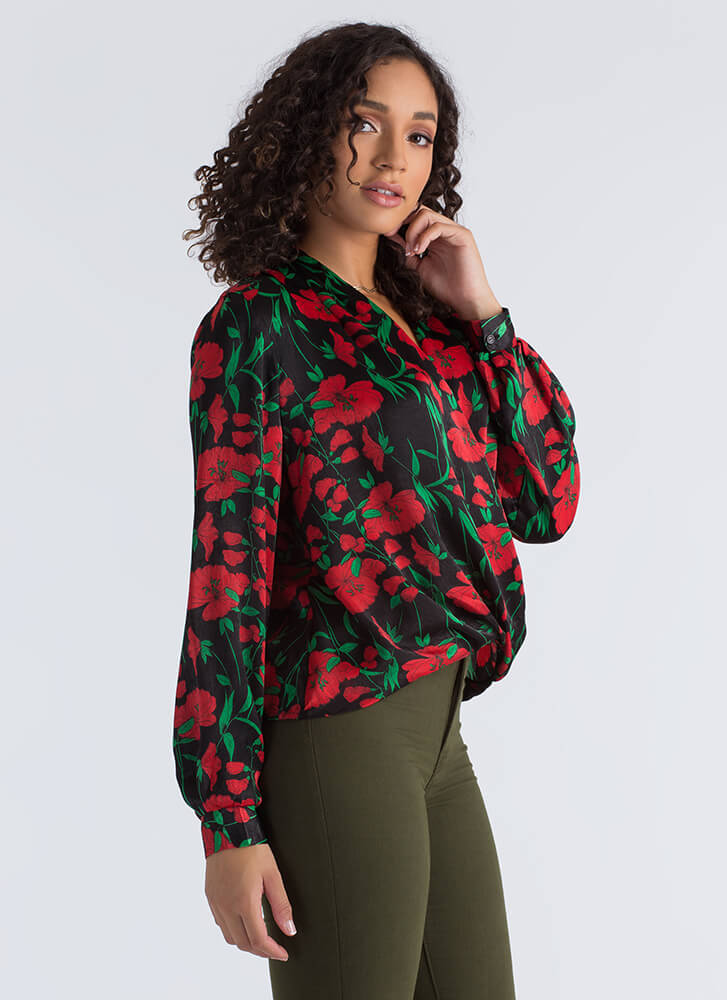 Fresh Flowers Silky Wrapped Blouse BLACKRED