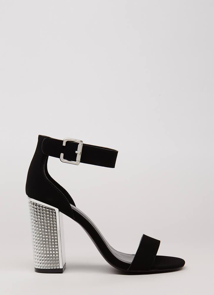 Studs For Hire Chunky Faux Nubuck Heels BLACK
