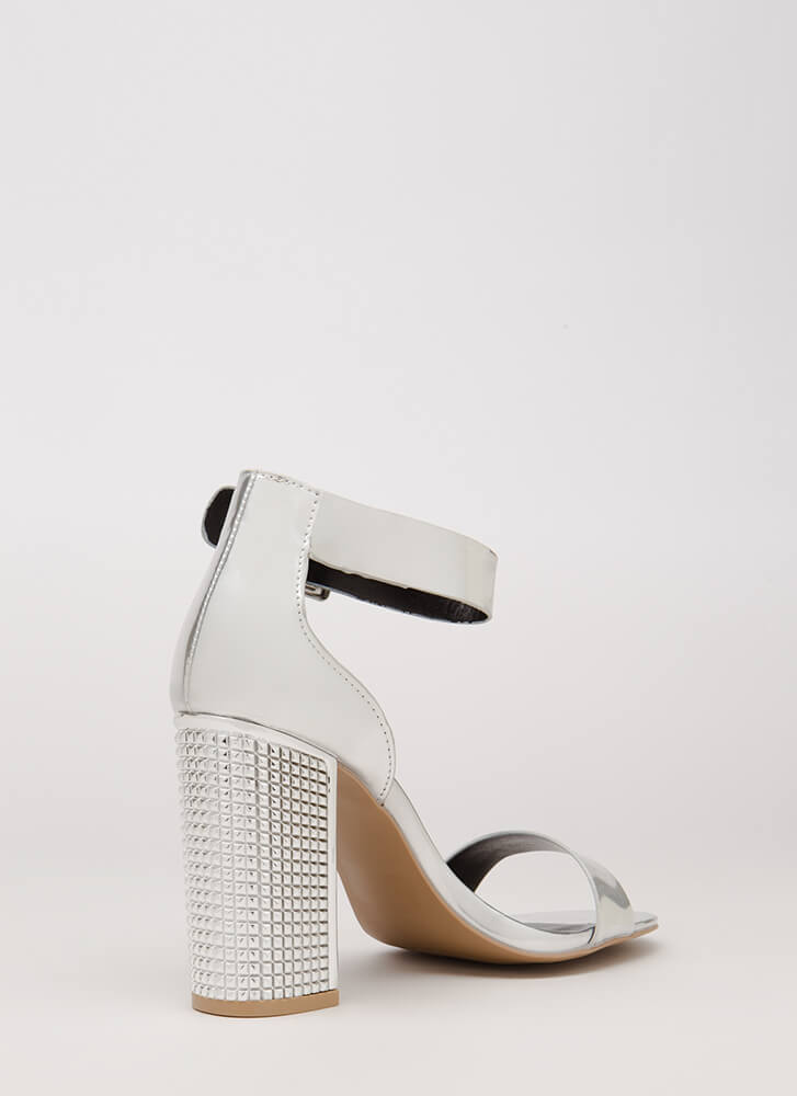 Studs For Hire Chunky Metallic Heels SILVER