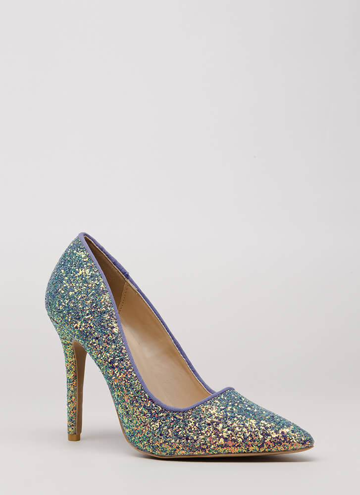 Girl In Glitter Sparkly Pointy Pumps ICEBLUE PINK - GoJane.com
