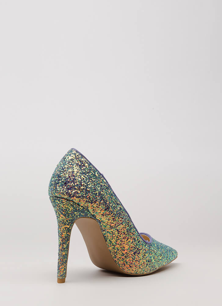 Girl In Glitter Sparkly Pointy Pumps ICEBLUE