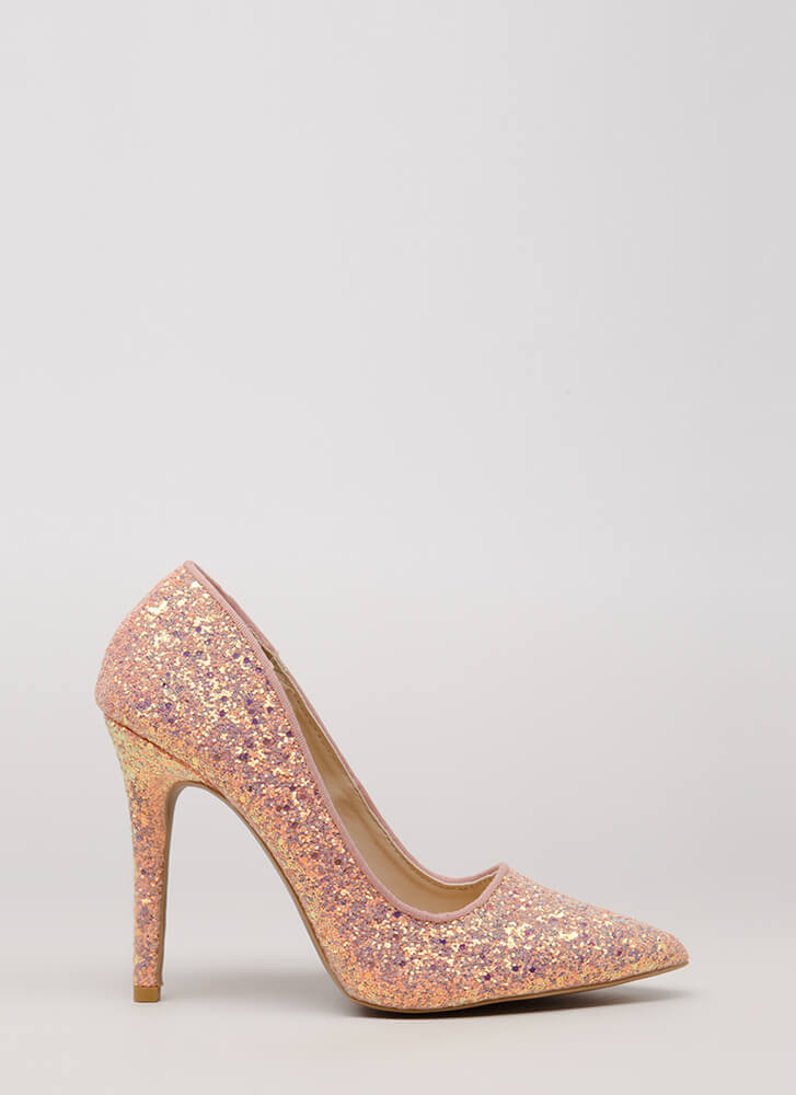 Girl In Glitter Sparkly Pointy Pumps PINK