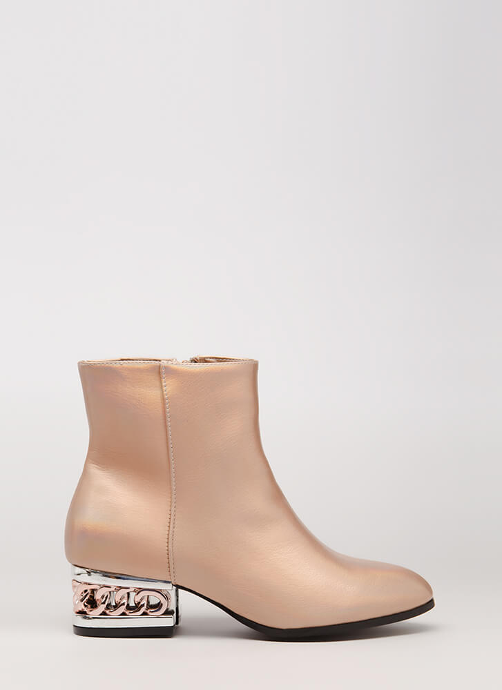 Party Vibes Shiny Chain Heel Booties ROSEGOLD