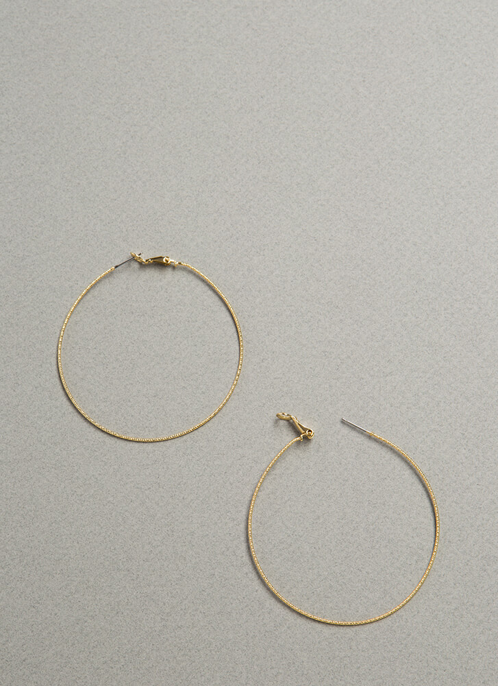 So Wired Skinny Oversized Hoops GOLD