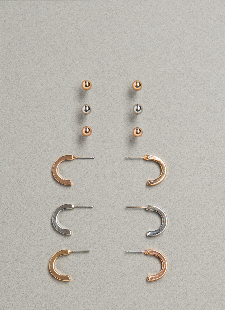 The Essentials Mixed Metal Earring Set MULTI (Final Sale)