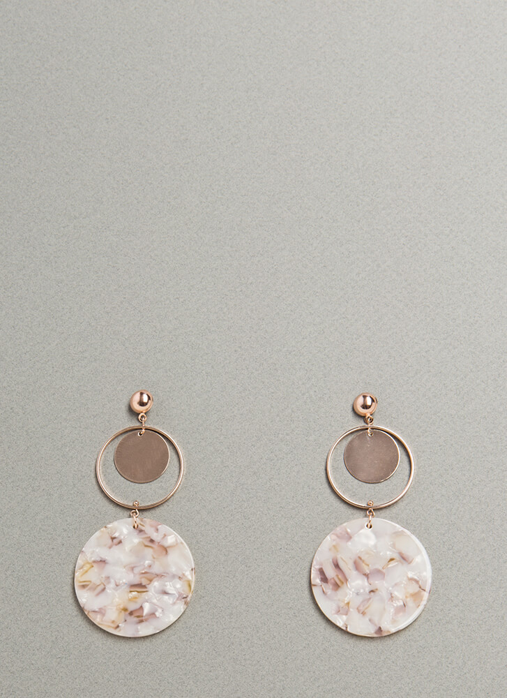 My Circle Faux Mother Of Pearl Earrings ROSEGOLD