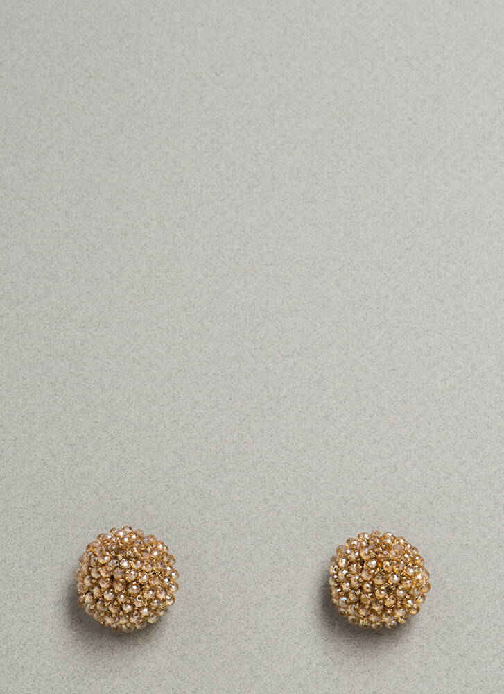 Circle Around Beaded Dome Earrings CHAMPAGNE