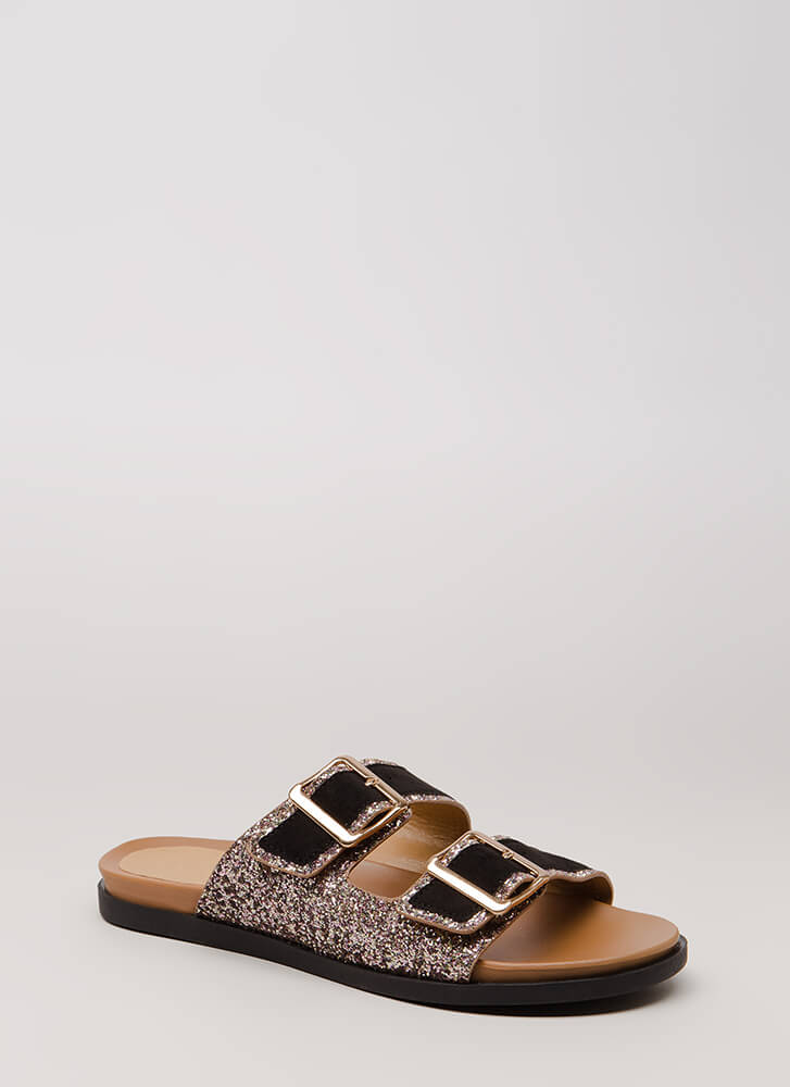 Layer It On Glittery Slide Sandals BLACKBLUSH