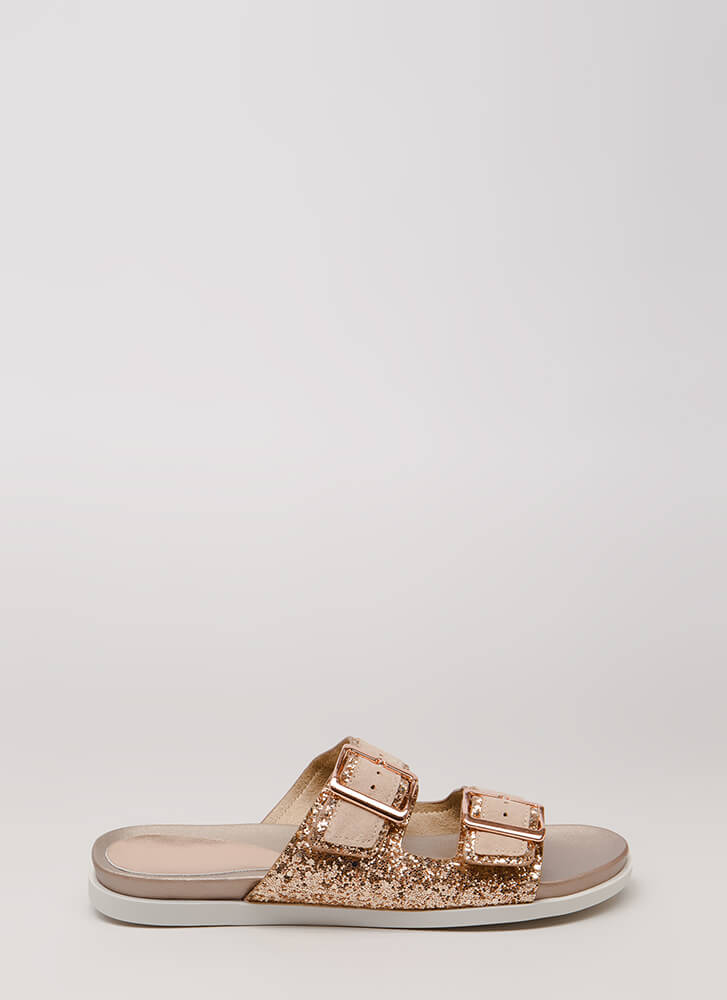 Layer It On Glittery Slide Sandals ROSEGOLD (Final Sale)