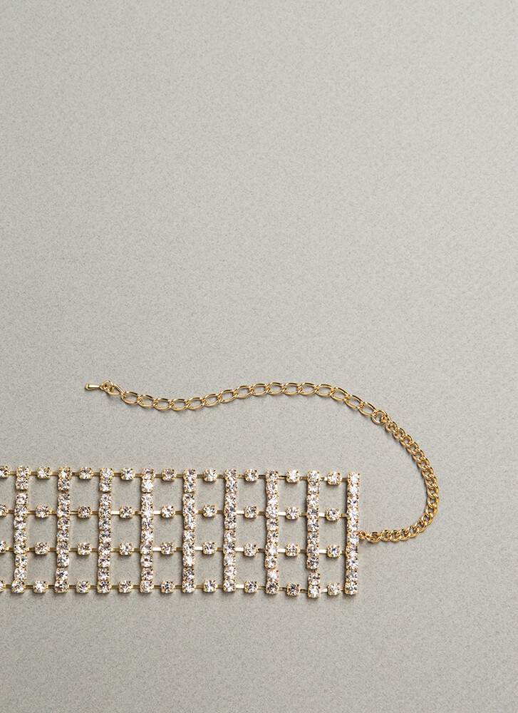Going Glam Caged Faux Diamond Choker GOLD