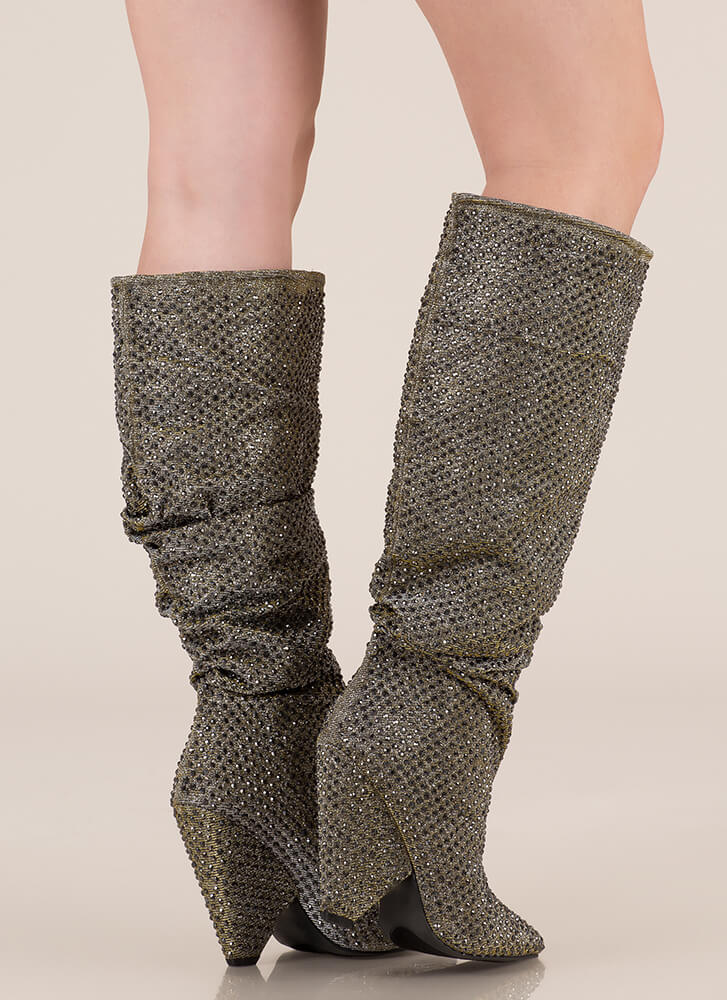 Sparkly Jewels Slouchy Cone Heel Boots PEWTER (You Saved $49)