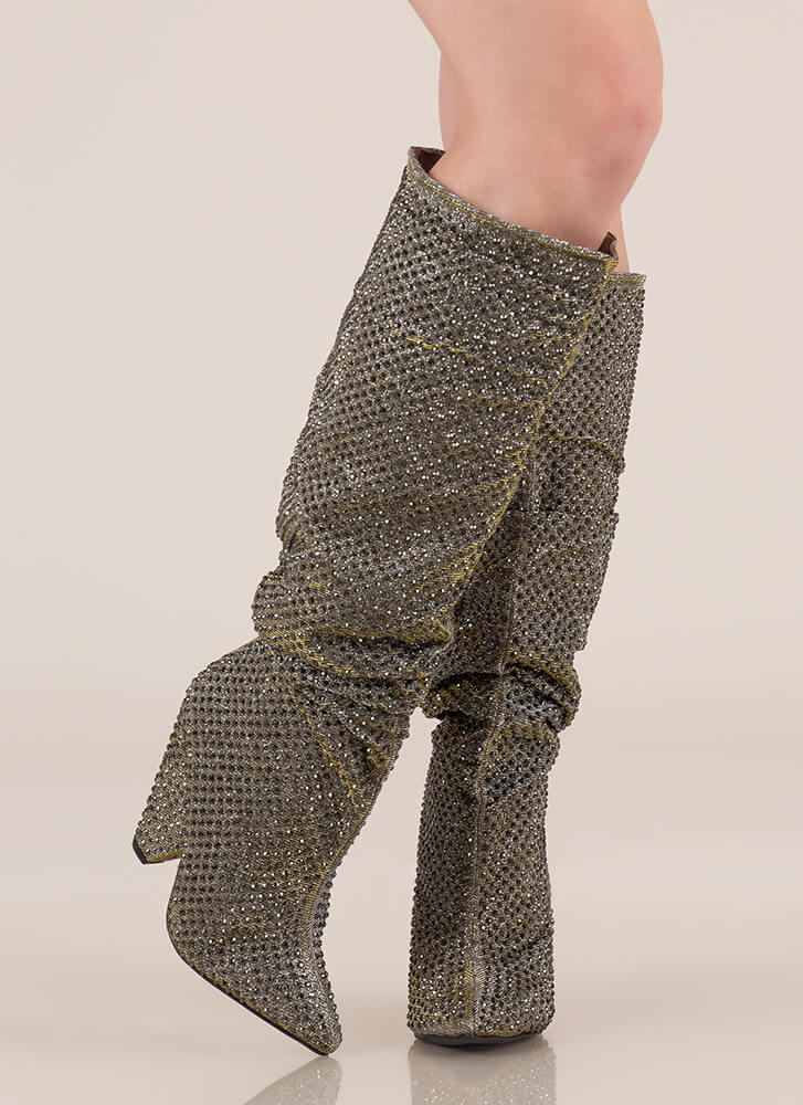 Sparkly Jewels Slouchy Cone Heel Boots PEWTER
