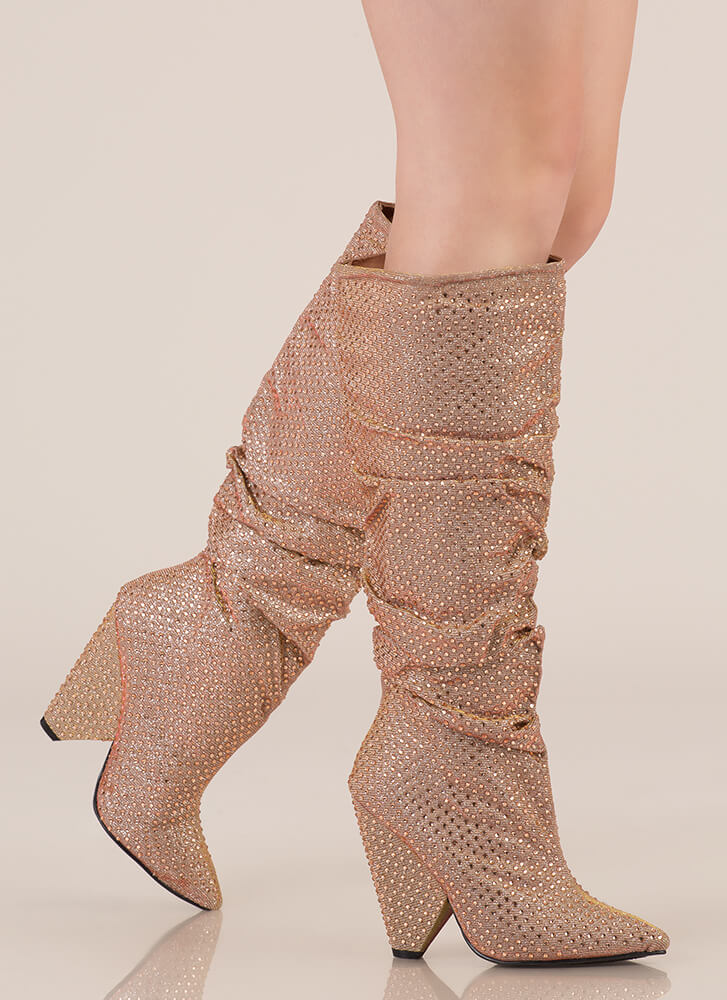 Sparkly Jewels Slouchy Cone Heel Boots ROSEGOLD