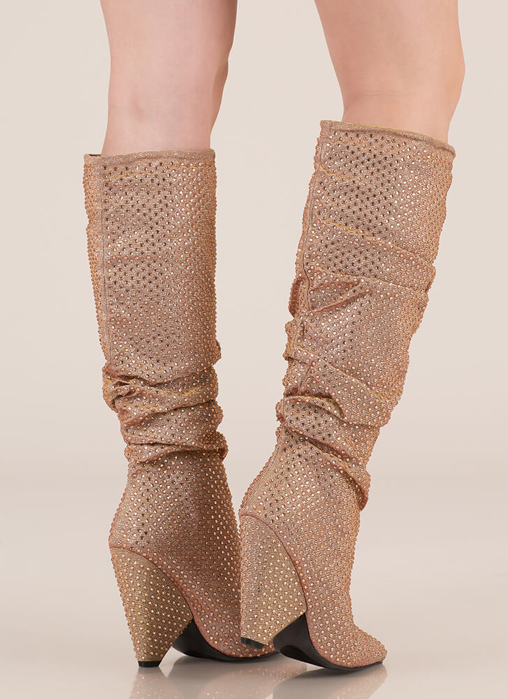Sparkly Jewels Slouchy Cone Heel Boots ROSEGOLD (You Saved $49)