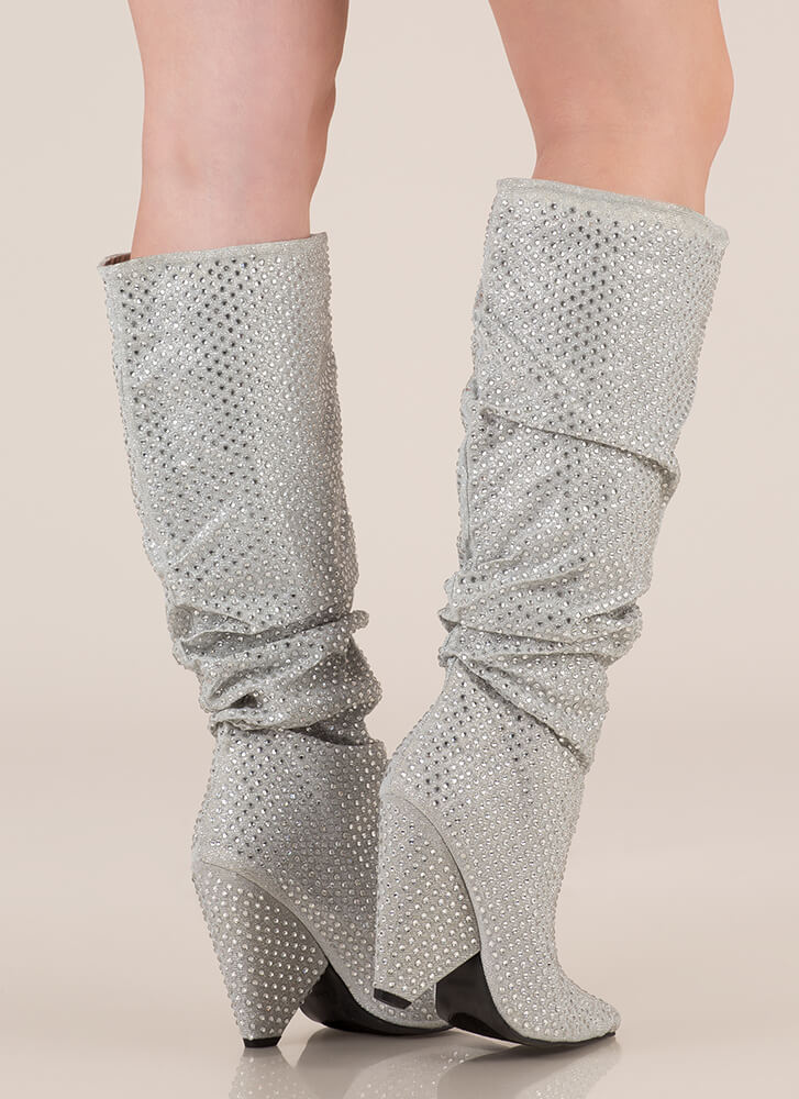 Sparkly Jewels Slouchy Cone Heel Boots SILVER
