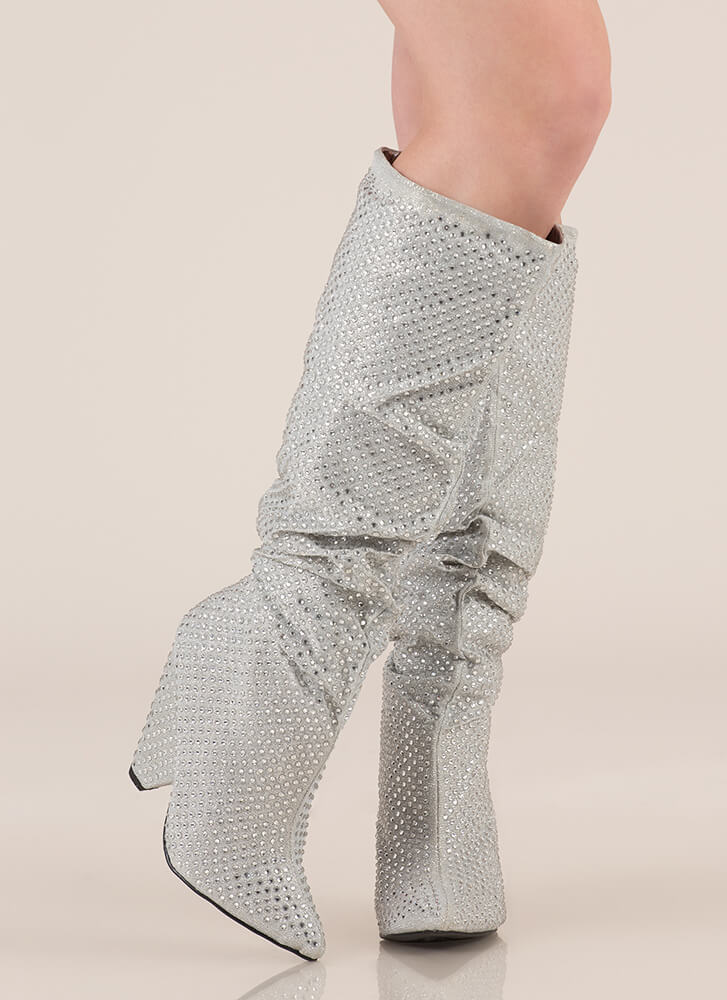 Sparkly Jewels Slouchy Cone Heel Boots SILVER (You Saved $49)