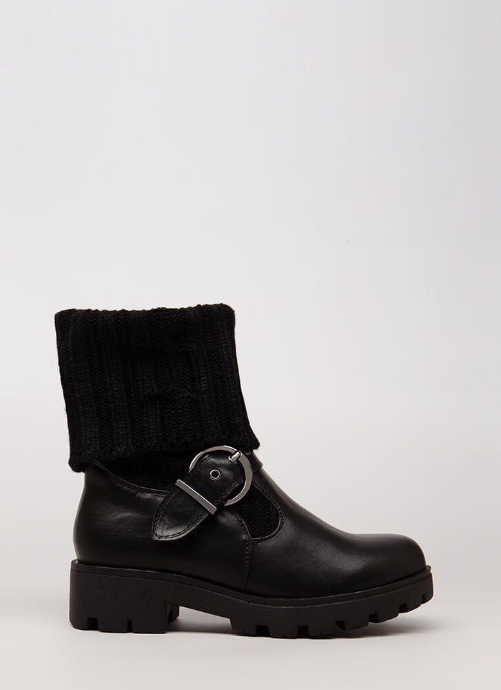 Highs And Lows Cable Knit Boots BLACK