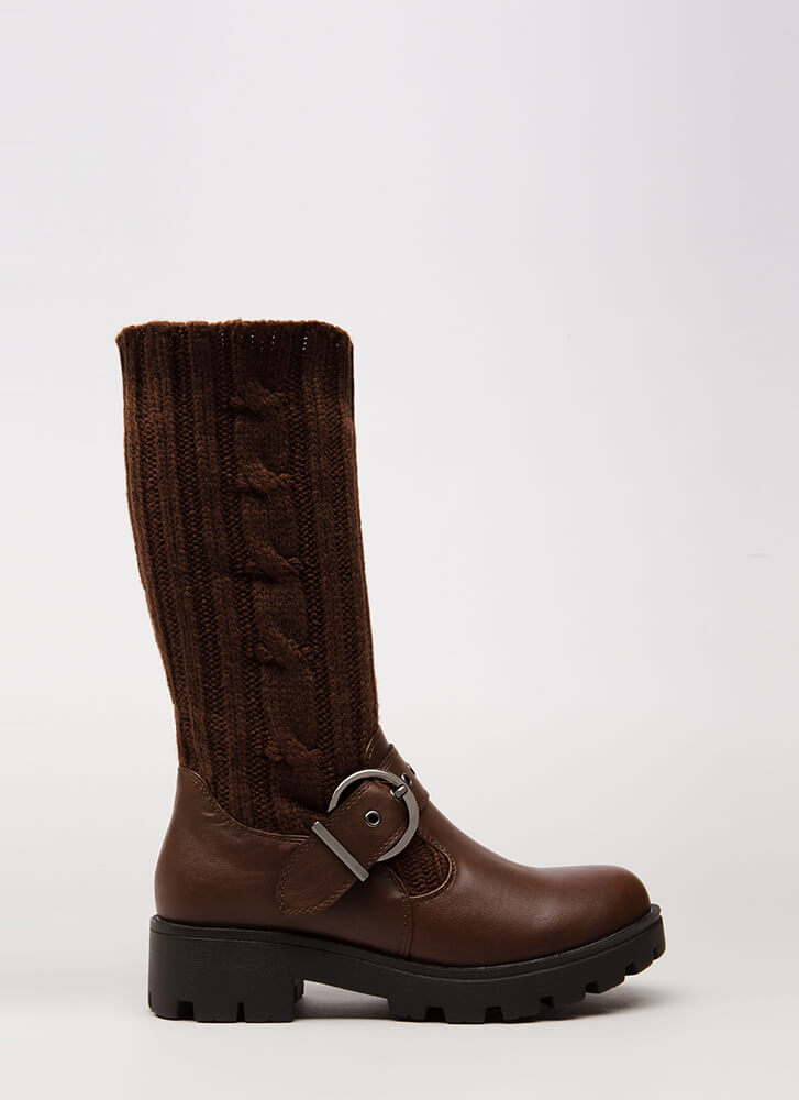 Highs And Lows Cable Knit Boots BROWN
