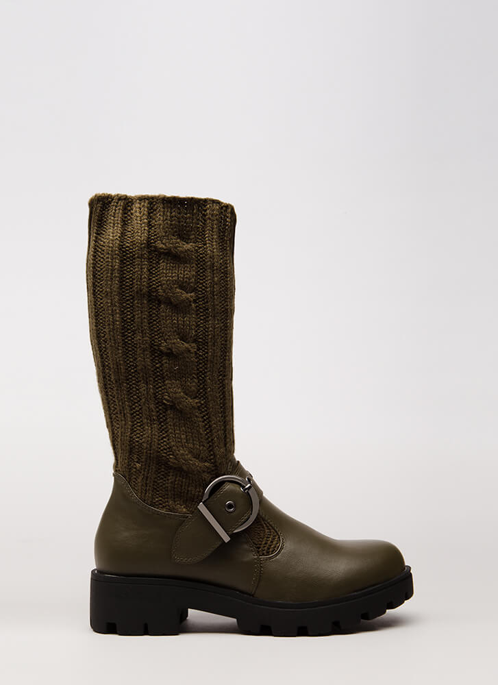 Highs And Lows Cable Knit Boots OLIVE