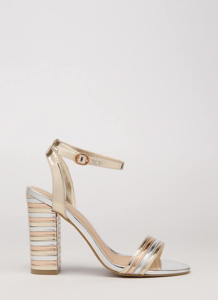 I Want It All Striped Chunky Heels GOLD