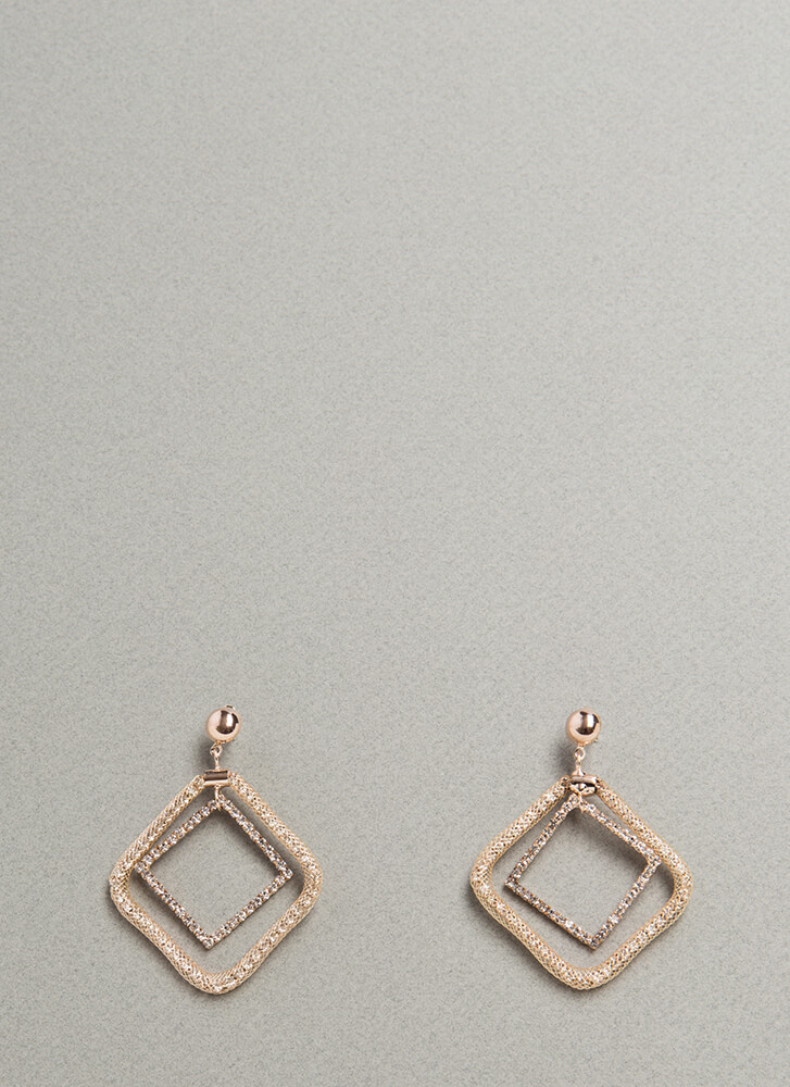 Diamond Cut Square Hoop Earrings ROSEGOLD (Final Sale)