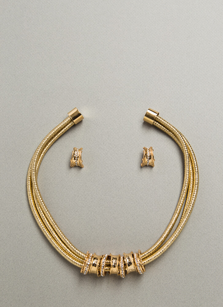 The Right Cords Jeweled Necklace Set GOLD