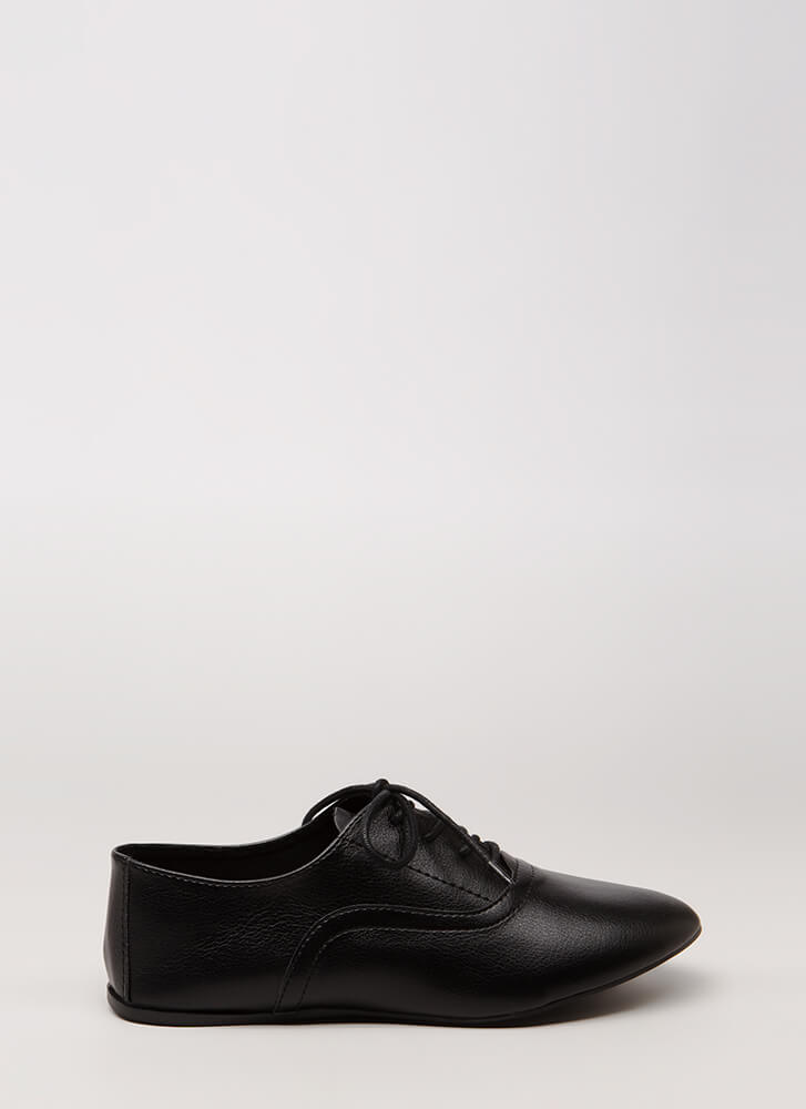 Jazz Feet Lace-Up Oxford Flats BLACK