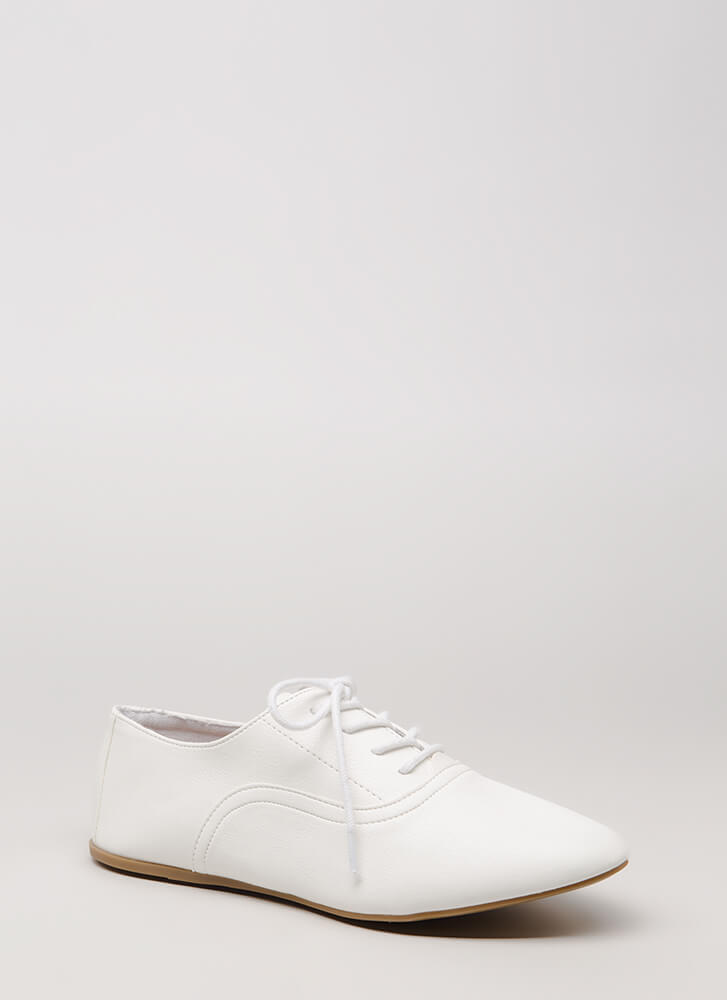 Jazz Feet Lace-Up Oxford Flats WHITE