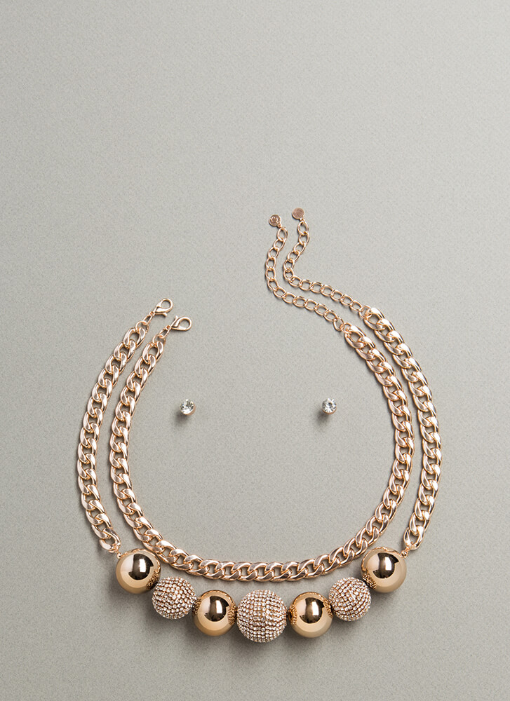 Have A Ball Beaded Chain Necklace Set ROSEGOLD