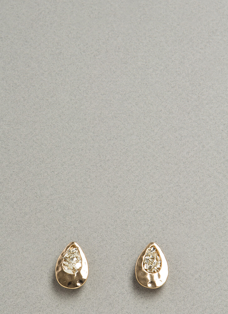 Filled Up Hammered Droplet Earrings GOLD